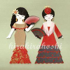 SPANISH FLAMENCO DANCER Girl Paper Doll Card by kirakirahoshi, $12.50