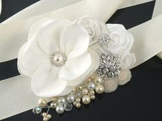 Sash  Bridal Sash in Ivory and White with Satin by SolBijou, $140.00