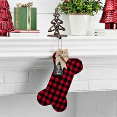 Fabric Plaid Dog Bone Personalized Stocking from Kirkland's Plaid Christmas Stockings, Dog Christmas Stocking, 3d Christmas, Christmas On A Budget, Christmas Animals, Diy Christmas Ornaments, Christmas Decorations, Holiday Decor, Christmas Ideas