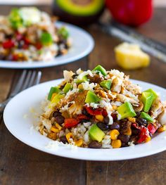 Baja Fish Taco Bowl - Fish, Spices, Garlic, Corn, Peppers, Onions, Avocados, Beans served on rice | 7 Quick Dinners To Make This Week