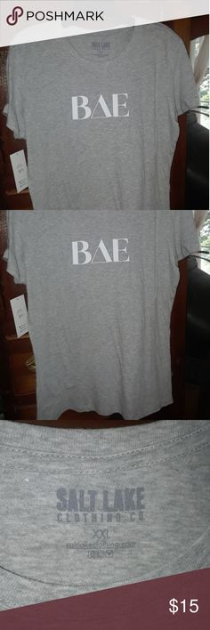 NWT Salt Lake Clothing Tee T Tshirt! Go-with-everything gray w / BAE graphics!  **This T is a 2X xxl but fits slim like an XL Salt Lake Clothing Tops Tees - Short Sleeve