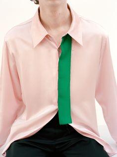Pink shirt green stripe