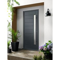 Our Ultimate Doors are constructed to give excellent thermal efficiency, high security and a jointless construction to prevent twisting, splitting or warping. The door and frames are fully factory finished and ready to install. Grey Front Doors, Oak Front Door, Modern Front Door, Double Front Doors, Front Door Entrance, Wooden Front Doors, Front Door Design, Oak Doors, Modern Entrance