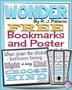 Wonder by R J Palacio: Free Choose Kind Bookmarks and Classroom Poster By Presto Plans Wonder Novel, Wonder Book, 6th Grade Ela, 5th Grade Reading, Fourth Grade, Book Club Books, The Book, Book Clubs, Student Bookmarks