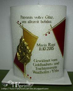 "Karins Kreativstube: Kerze ""Maria Rast"" rot/gold Candles, Creative"
