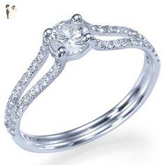 Diamond Engagement Ring 14k White Gold Natural Round Diamond Ring HANDMADE Free Shipping Proposal Ring - Wedding and engagement rings (*Amazon Partner-Link)