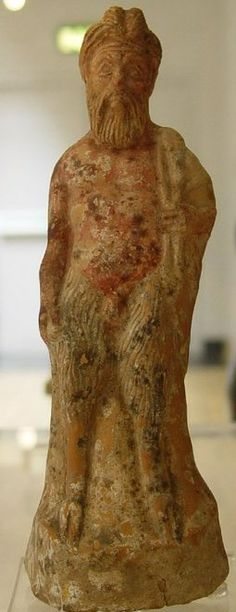 Pottery Figure of Pan - circa 360-330 BC. Greek Boeotian period, at the British Museum