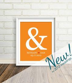 LOVE! #ampersand Custom Wedding Gift  : Personalized Ampersand Wedding Art Print - 8x10 / Bridal Shower Present - Engagement Gift. $24.00, via Etsy.