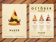 Logo, brochure and poster design. Pizza Branding, Pizza Logo, Menu Pizza, Pizza Flyer, Pizza Restaurant, Restaurant Branding, Pizza Pizza, Logo Pizzeria, Ideas