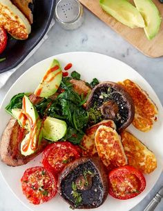 We've paired this squeaky pan-fried cheese with sliced avocado, toasted sourdough, grilled mushrooms and juicy tomatoes but you can you can mix it up and throw some other veg under the grill – the possibilities are endless!