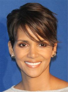 Halle Berry Pixie Boy Cuts Short Layered Synthetic Hair With One Side Part Straight Bangs Capless Cap Wigs 6 Inches Halle Berry Haircut, Halle Berry Pixie, Halle Berry Hairstyles, Pixie Hairstyles, Pixie Haircut, Straight Hairstyles, Hairstyle Short, Hairdos, Urban Hairstyles