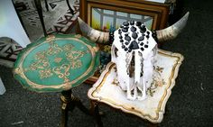 Embellished Skull and two small vintage tables @MelroseTrdgPost