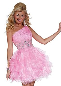 Hannah S 27870 One Shoulder Short Prom Dress, Pink, 6