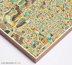 CLEVELAND MAP Ready to Hang Wood Print Modern by JazzberryBlue