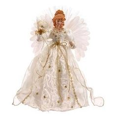 Vickerman Angel Fiber Optic Wings, White/Gold: White and Gold Angel Lighted Tree Topper. Angel Christmas Tree Topper, Christmas Angels, Gold Christmas, Merry Christmas, Holiday Lights, Holiday Tree, Lighted Angel Tree Topper, Light Angel, Feather Angel Wings