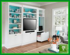 dimensions for a built in bookcase with room for tv and 2 desks - Google Search
