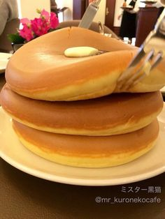 Ginormous thick pancakes...HOW?! LITERALLY HOW!?!?!?!?!