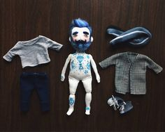 Cloth doll Baby Beardy with blue beard and oldschool tattoos