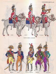 Scots Greys (cavaliere, ufficiale e tromba) inglesi e marescialli francesi (Berthier, Murat, Gouvion, Bessiètre e Poniatoski