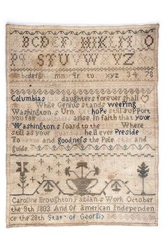 Sampler, by Caroline Broughton, Fabian, October 3, 1803, Georgia. From the collections of the Charleston Museum.