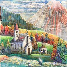 #romanticcountrycoloringbook #romanticcountry1 #fabercastellalbrechtdürer #watercolorpencils #adultcoloringbook #churchpainting I love…