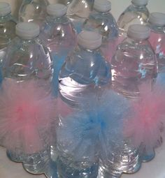 These 10 water bottle Pom Poms are made with Pink and blue Tulle and attached to a white satin ribbon. These water bottle decorations are perfect