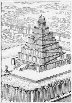 "Ziggurats (""to build on a raised area"") were massive structures erected in the ancient Mesopotamian valley and western Iranian plateau, having the form of a terraced step pyramid of successively receding stories or levels. Ziggurats were built by the Sumerians, Babylonians, Elamites, Akkadians, and Assyrians, each part of a temple complex which included other buildings."