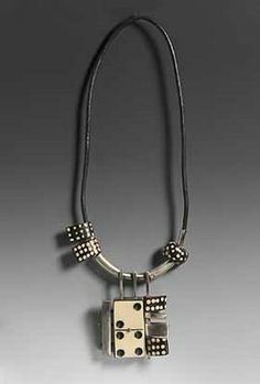 Ramona Solberg, silver, leather & dominoes (found objects jewellery)