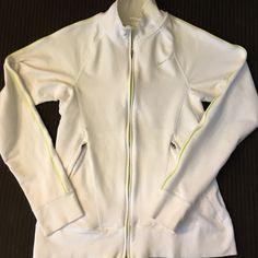 Nike Dri-Fit Jacket Size Medium White And Neon Green Trim Size Medium Nike Jackets & Coats