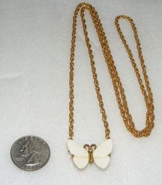 Vintage Long TRIFARI small Lucite BUTTERFLY figural NECKLACE costume jewelry #Trifari #figuralpendantnecklace