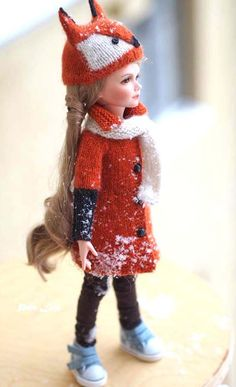 #Dolls Clother for KID iplehouse, #Fox costume, fox hat,  #outfit for Doll  #BJD, for other dolls size 35 cm / 13 in, Coat Angora wool  #cardigan   #IplehouseKID #petslair