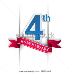 4 years anniversary logo, blue and red colored vector design on white background. template for Poster or brochure and invitation card.