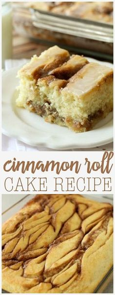 Cinnamon Roll Cake - a delicious cake version of the famous breakfast recipe filled with cinnamon and sugar and toped with glaze.Made this today and it is delicious! Cinnamon Cake, Cinnamon Rolls, Cinnamon Butter, Cinnamon Swirls, Just Desserts, Delicious Desserts, Yummy Food, Autumn Desserts, Baking Recipes