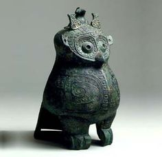 Bronze owl-shaped ritual wine vessel Shang dynasty. 12th-11th century B.C.