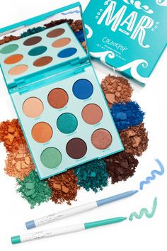 Includes the Mar Shadow Palette and two matching Crème Gel Liners. Colourpop Eyeshadow, Makeup Eyeshadow Palette, Colourpop Cosmetics, Makeup Cosmetics, Colourpop Palette, Eyeshadows, Love Makeup, Makeup Kit, Makeup Inspo