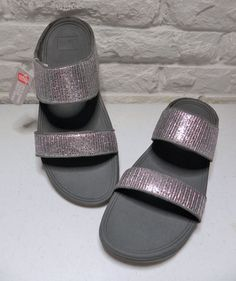 c4169314137d1e FITFLOP Lulu Superglitz Slide Fitness Sandal Silver New Ladies US 10 UK 8  EU 42