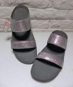FITFLOP Lulu Superglitz Slide Fitness Sandal Silver New Ladies US 10 UK 8 EU 42 #FitFlop #Slides #Casual