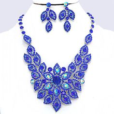 Sapphire Cobalt Blue AB Crystal Rhinestone Pave Flower Formal Evening Bridal Wedding Silver Chunky Necklace Set Elegant Costume Jewelry