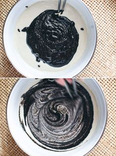 Mixing Black Sesame paste for Vegan Black Sesame Waffles
