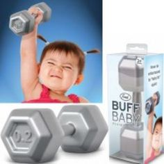 Buff Baby Rattle turns your little one into a bench-pressing body-builder! As your baby pushes weights with the Buff Baby Rattle, their curiosity will be piqued by the gentle rattle sound and natural hand-grips.  BPA and phthalate free!