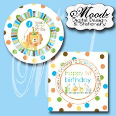 SWEET SAFARI Blue / birthday, baby shower / 2 inch Square Digital Collage Sheet - cupcake toppers, stickers, scrapbooking, etc.. $5.00, via Etsy.