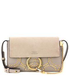 mytheresa.com - Faye Small embellished suede and leather shoulder bag - Luxury Fashion for Women / Designer clothing, shoes, bags