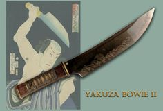 """From Don Fogg: Yakuza Bowie II - Based on stories of the Yakuza, this is a large blade 11.375"""" long to the tsuba and 17.25"""" overall with a width of 2.375"""" at its widest. It was forged from 1095 high carbon steel and features an exuberant hamon with lots of activity and dramatic utsuri. It is flat ground on one side creating a sharp slicing blade. The original pattern comes from a Japanese whaling knife.The handle is textured wenge with a recessed silk cord under wrapping and lacing over…"""