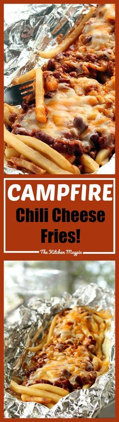 Going camping? Try these camping tips and hacks! Campfire Chili Cheese Fries Tin Foil Dinner from The Kitchen Magpie -Read Tin Foil Dinners, Hobo Dinners, Foil Packet Dinners, Foil Pack Meals, Foil Packets, Cafe Logo, Campfire Food, Campfire Recipes, How To Cook Chili