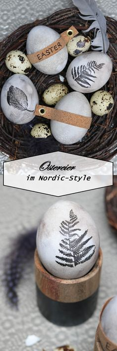 graue Ostereier mit Naturmotiven und Korkband gray easter eggs with nature motives and cork band Easter Brunch, Easter Party, Egg Crafts, Easter Crafts, Diy Ostern, Easter Holidays, Egg Decorating, Nordic Style, Easter Recipes