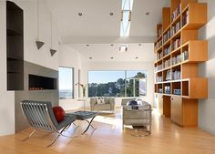 Muir Beach Residence by Jerry Kler Associate Architects- look at this beautiful bookcase!!!