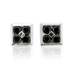 Mens 10k White Gold Square Black Diamond Earrings Studs 0 50 Carat Delight 349 99
