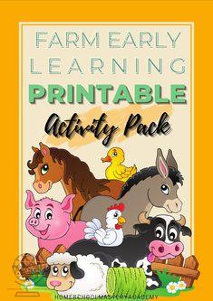 Farm activity printable pack for early learners! #farm #printables #homeschool #preschool #elementary