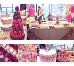 Dessert Table, Candy Corner, Ombre Cake, Macaron Tower.
