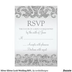 Silver Glitter Look Wedding RSVP Cards